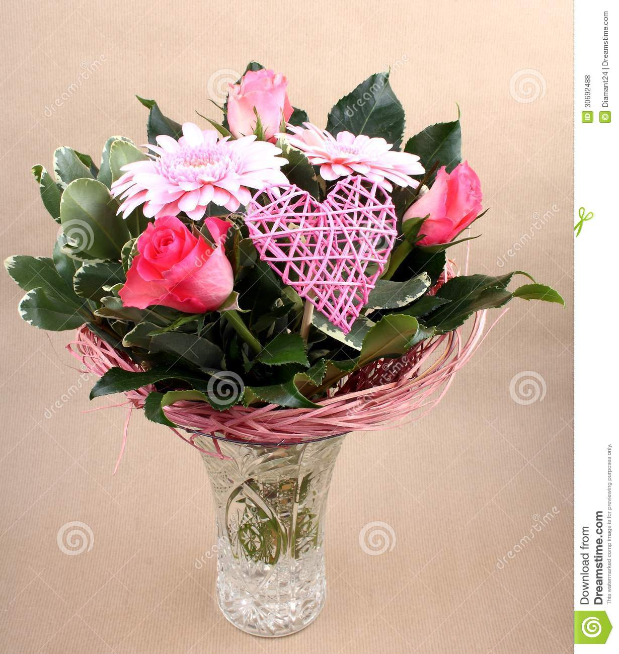Beautiful flower bouquet with roses and heart in vase stock photo beautiful flower bouquet with roses and heart in vase izmirmasajfo