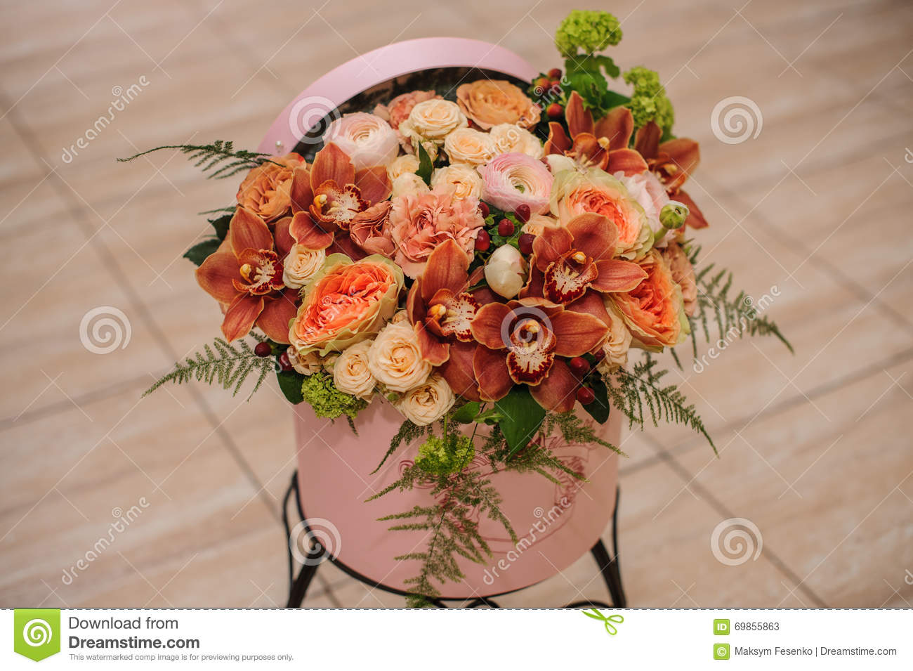 Beautiful flower bouquet in round box with lid stock image image royalty free stock photo izmirmasajfo