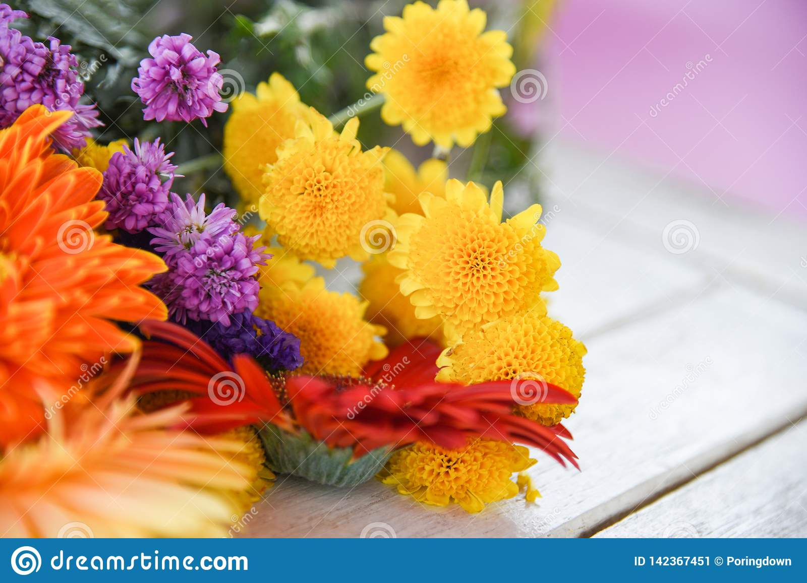 Beautiful flower bunch colorful spring various types flowers decorate on table