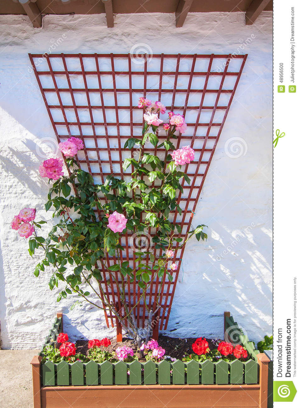 Beautiful flower decoration outside a scottish house stock for Outer decoration of house