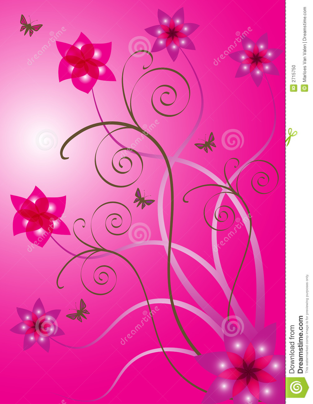 Beautiful flower desig...Clipart Flowers And Butterflies Border