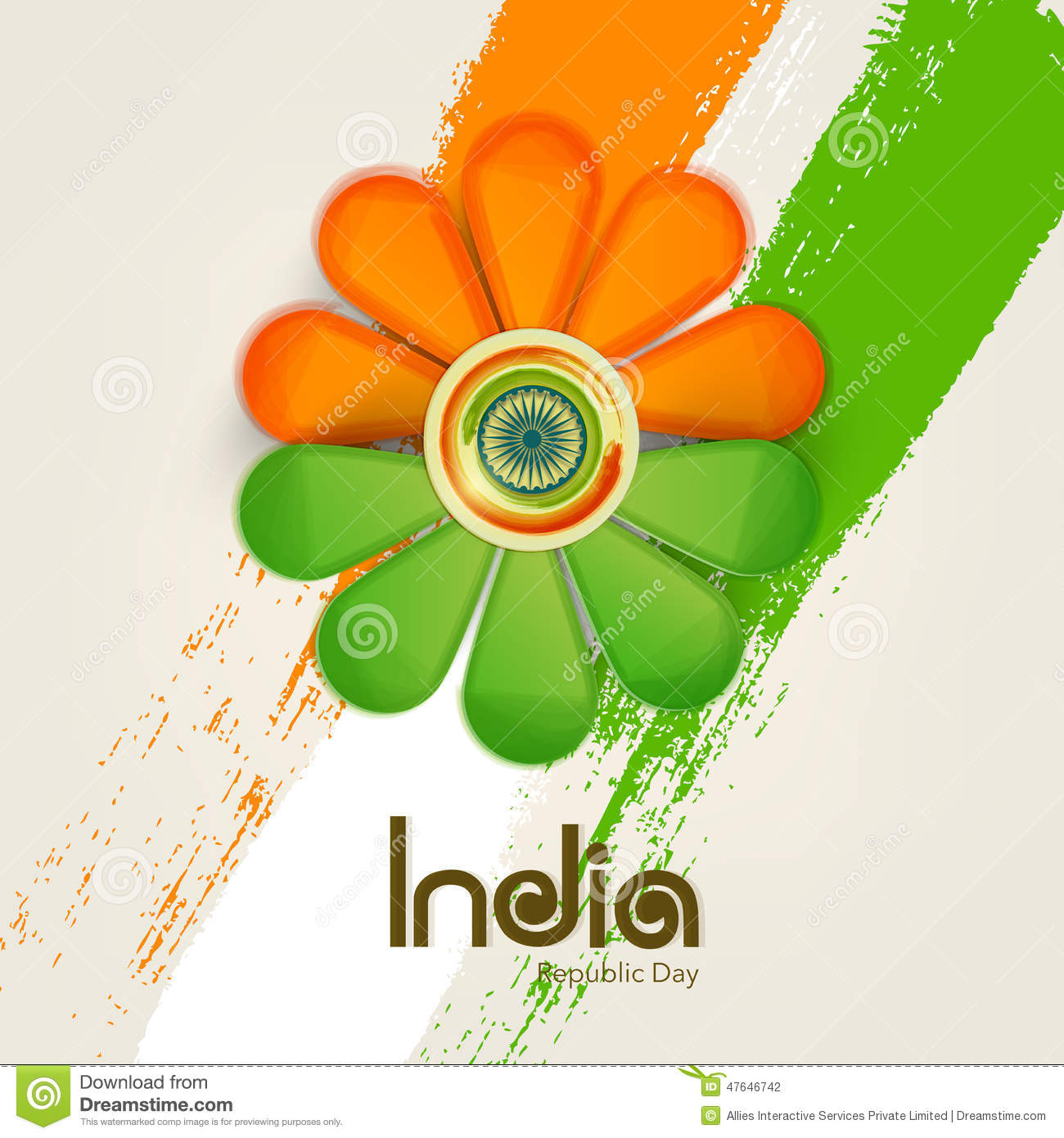 Beautiful Flower Design In National Flag Color With Ashok Wheel ...