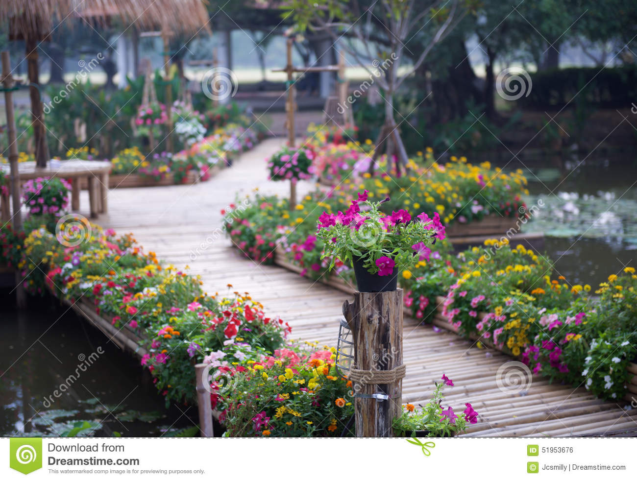 Beautiful Flower Garden With Bamboo Path Stock Photo Image Of Leaf