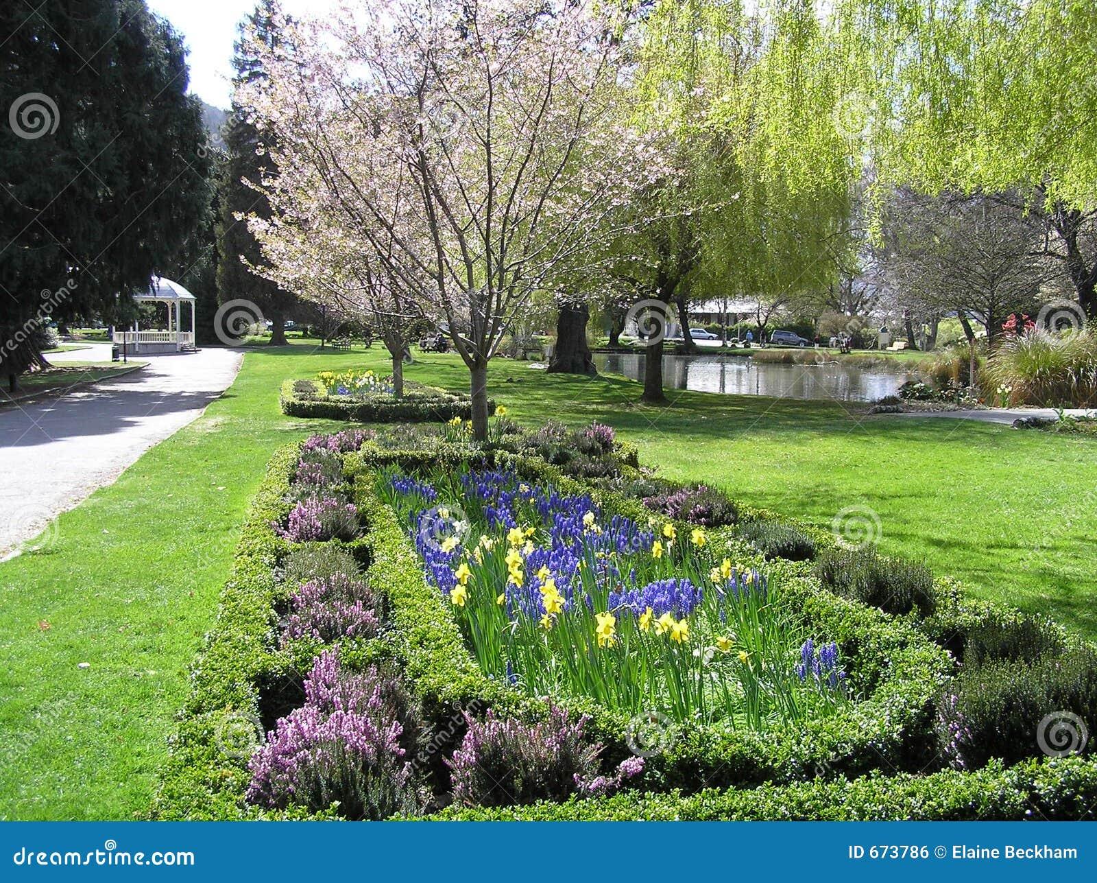 Beautiful flower garden in new zealand royalty free stock for Garden design queenstown