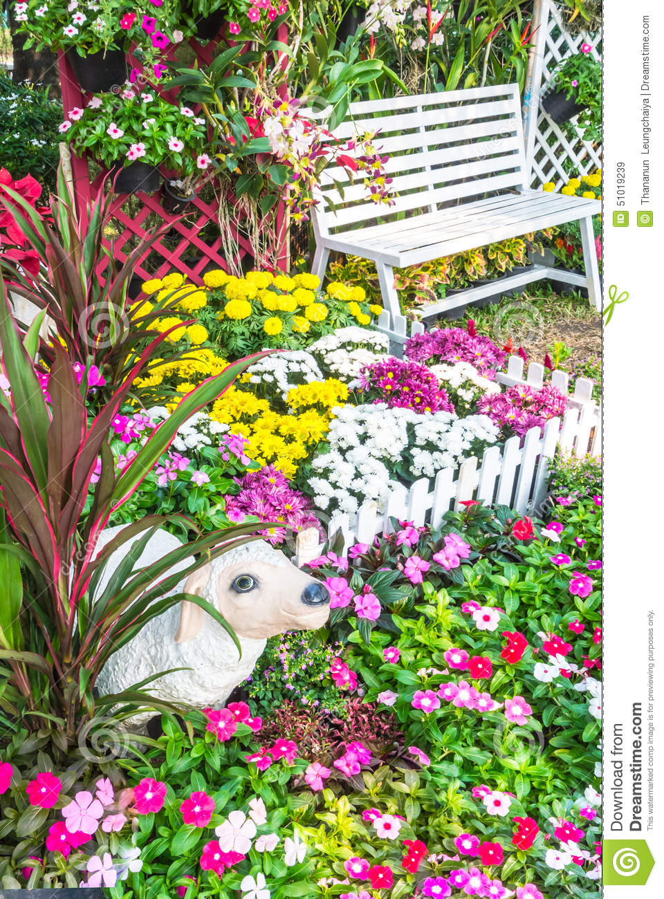 Beautiful Flower Garden Stock Image Image Of House 51019239