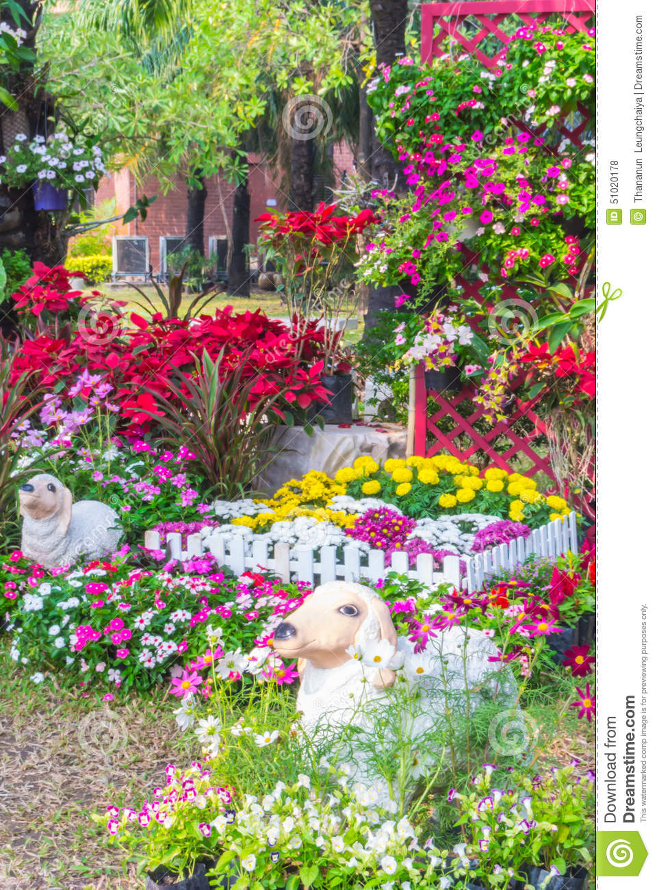 Beautiful flower garden. stock photo. Image of gardening ...