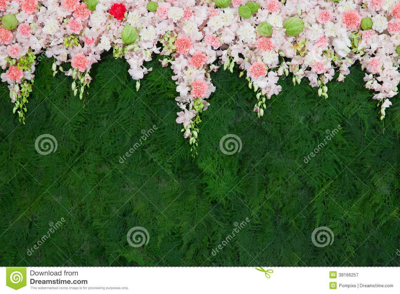 Beautiful Flower And Green Leaf Background For Wedding