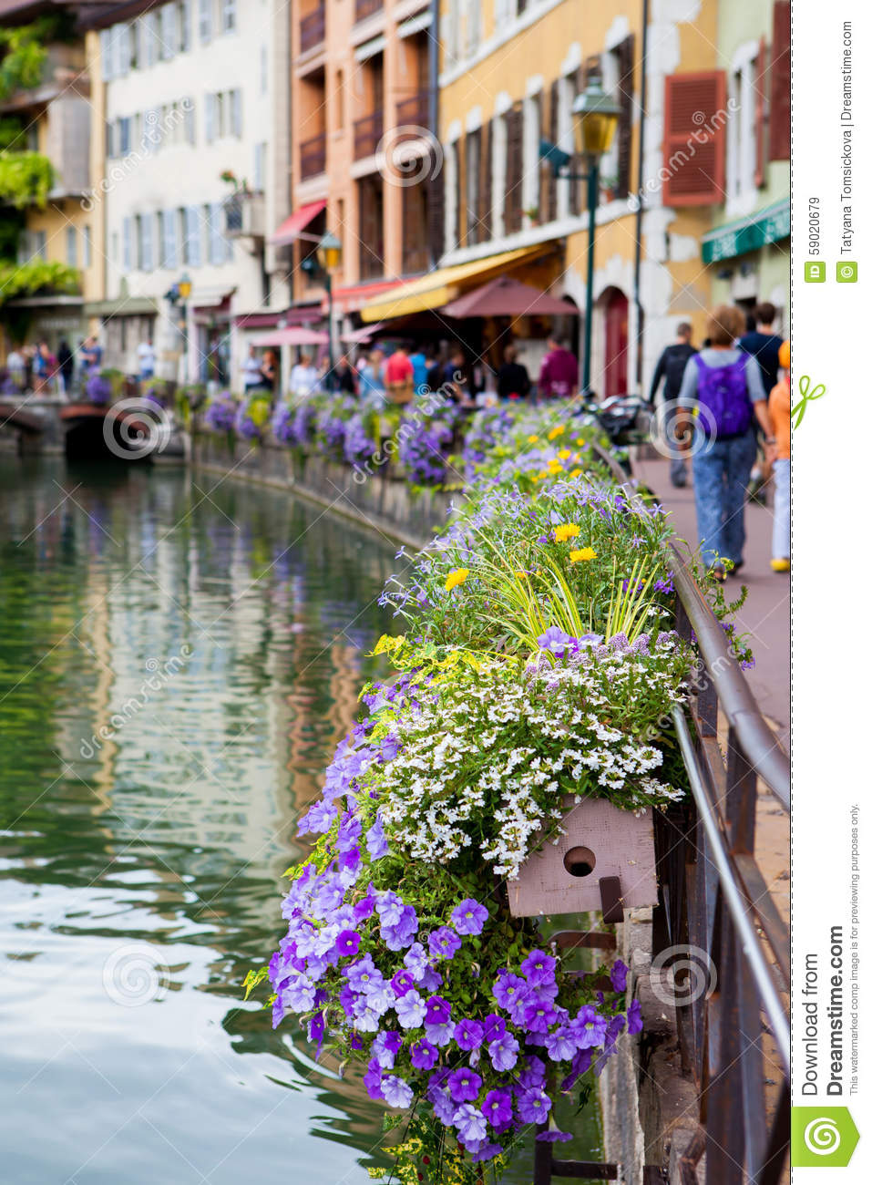Beautiful flower pots along the canals in Annecy France known & Beautiful Flower Pots Along The Canals In Annecy France Known ...