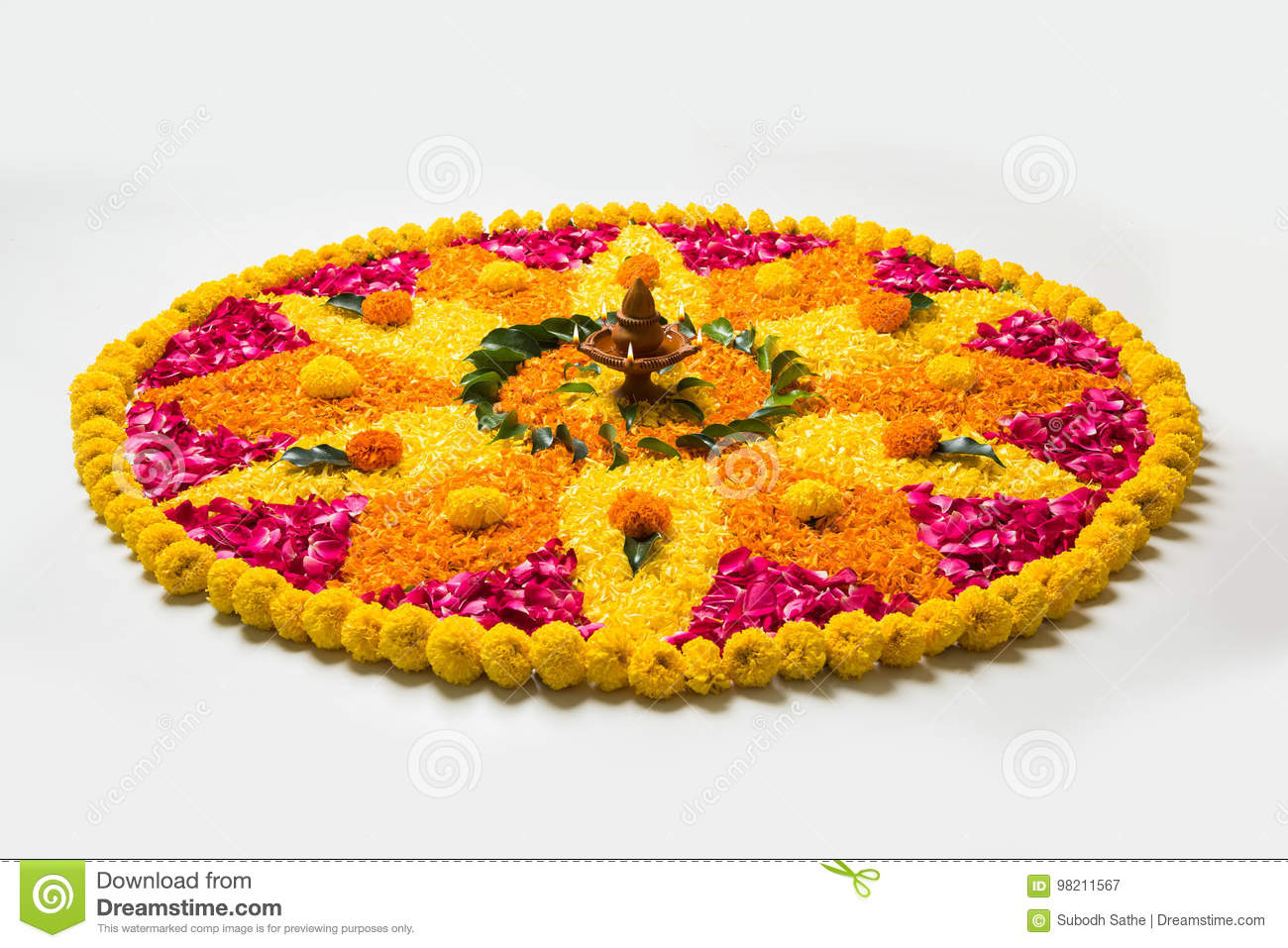 Beautiful Flower Rangoli Or Decoration With Clay Lamp For Diwali Or Any Indian Festival Stock