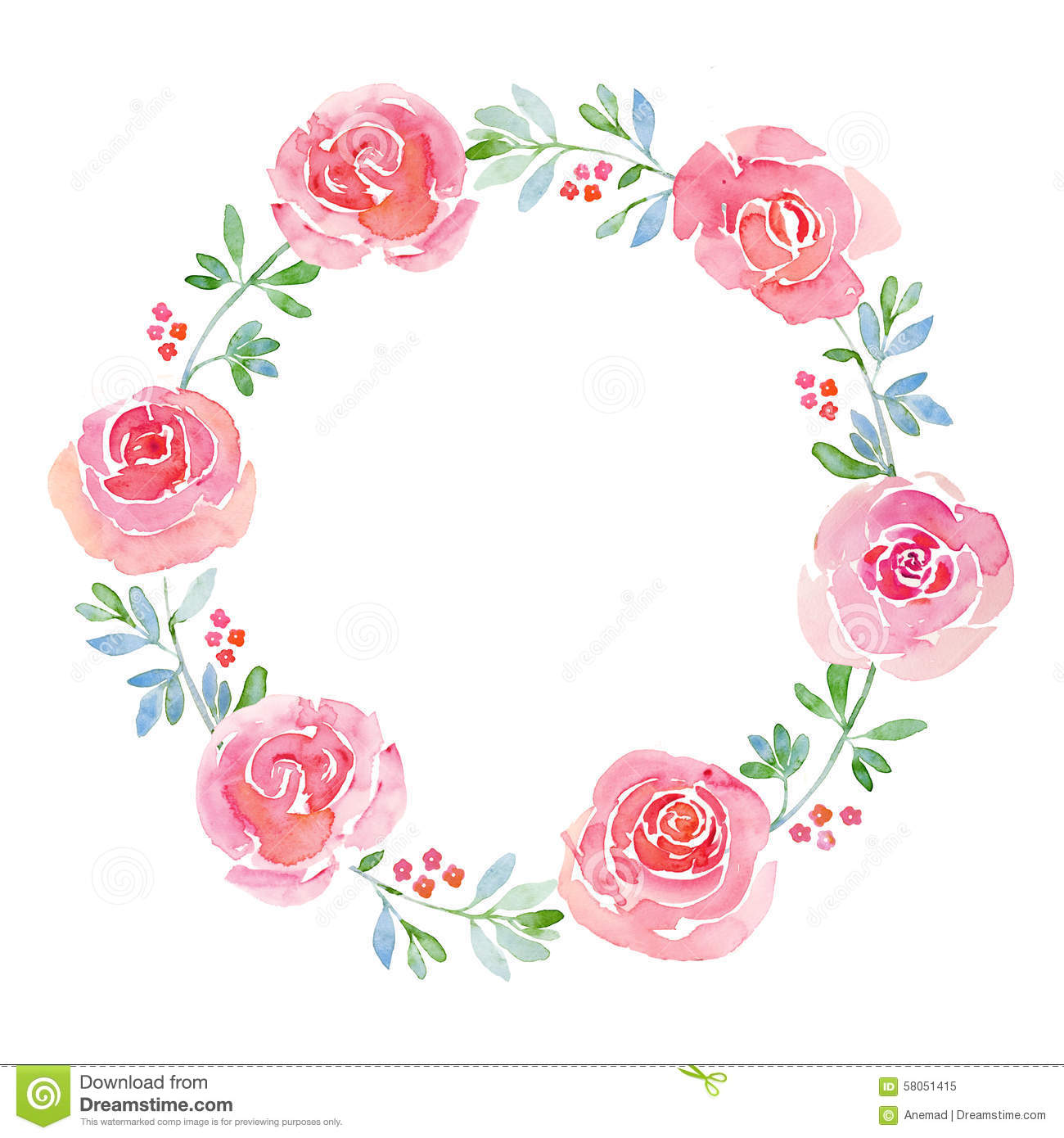 Beautiful Flower Watercolor Wreath Stock Illustration ...