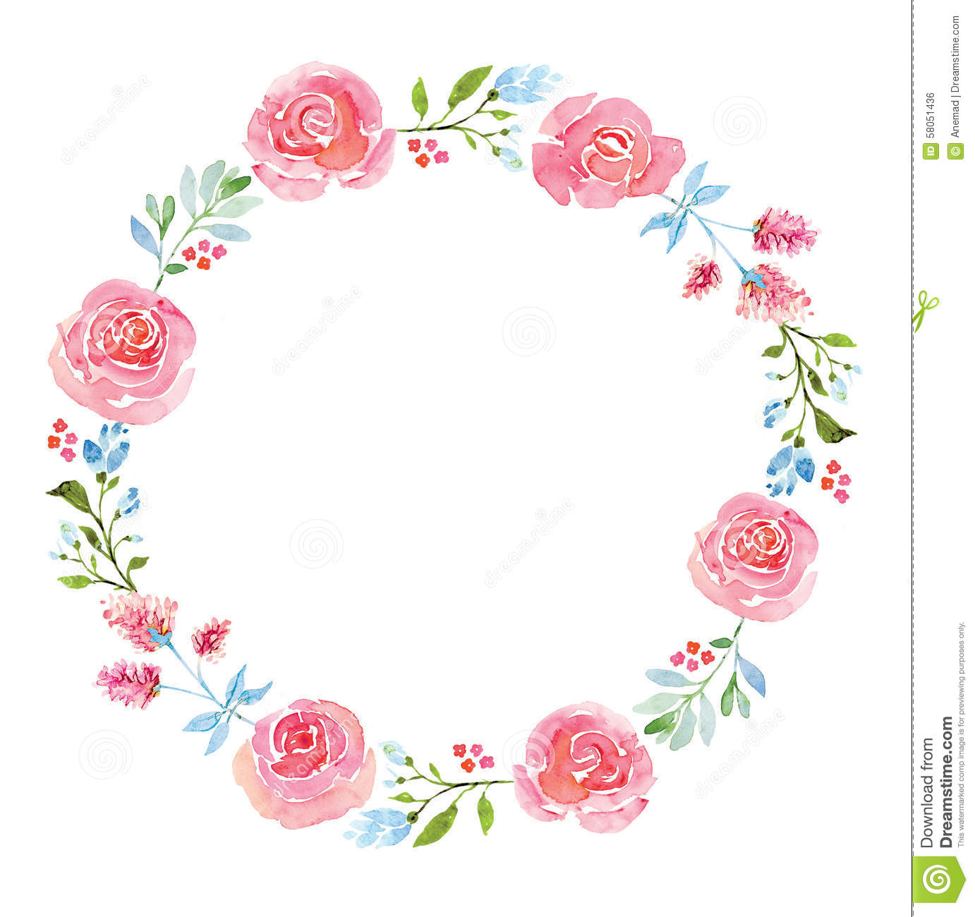 Download Beautiful Flower Watercolor Wreath Stock Illustration
