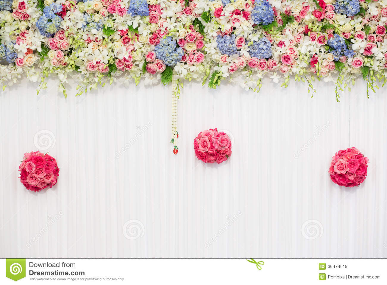 Beautiful flower wedding decoration royalty free stock for Background decoration