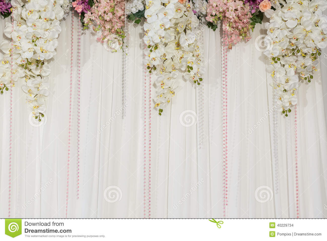 Beautiful flower wedding decoration stock photo image for Background decoration for wedding