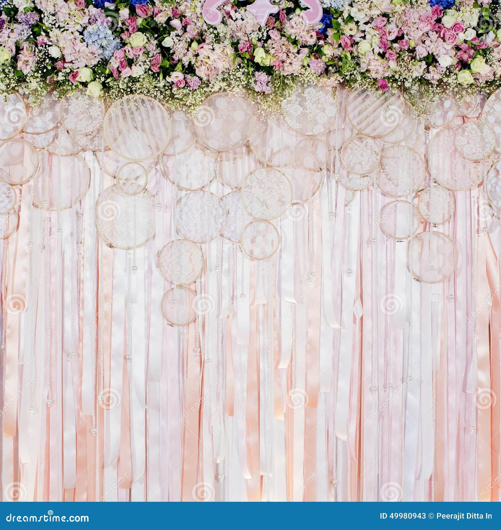 Wedding Flower Background: Beautiful Flowers Background For Wedding Scene Stock Image