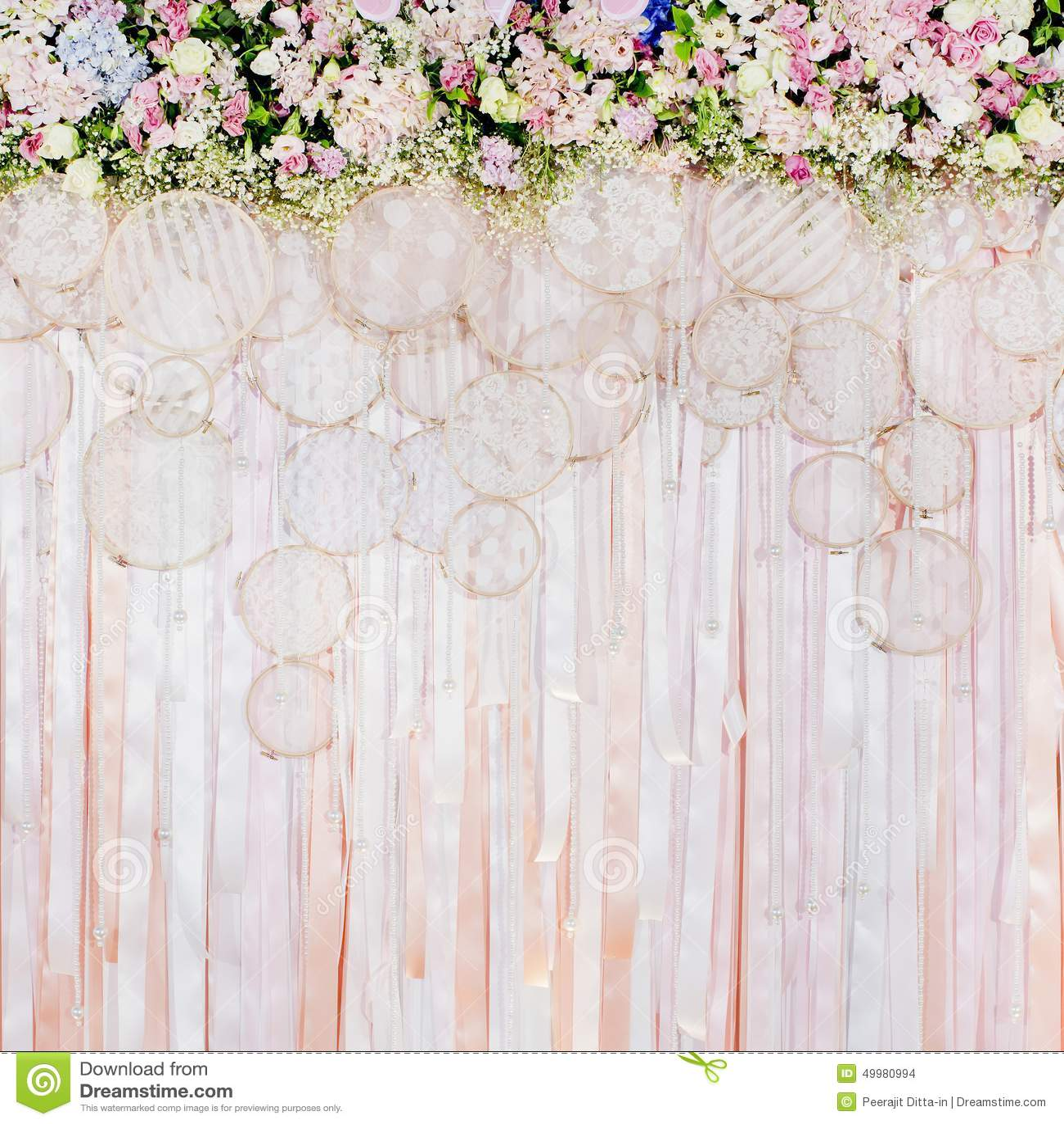 Wedding Flower Background: Beautiful Flowers Background For Wedding Scene Stock Photo