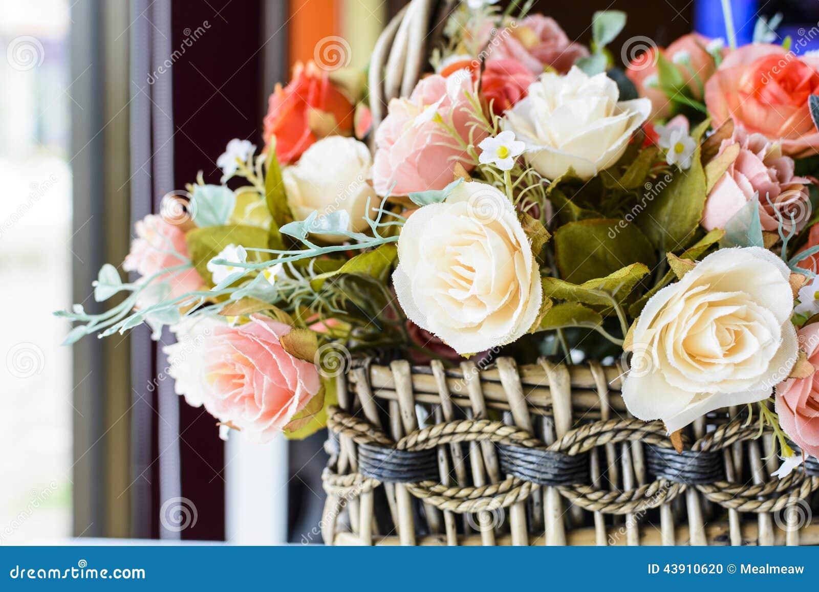 Beautiful flowers in basket on wooden table stock photo image of beautiful flowers in basket on wooden table stock photo image of background coffee 43910620 izmirmasajfo