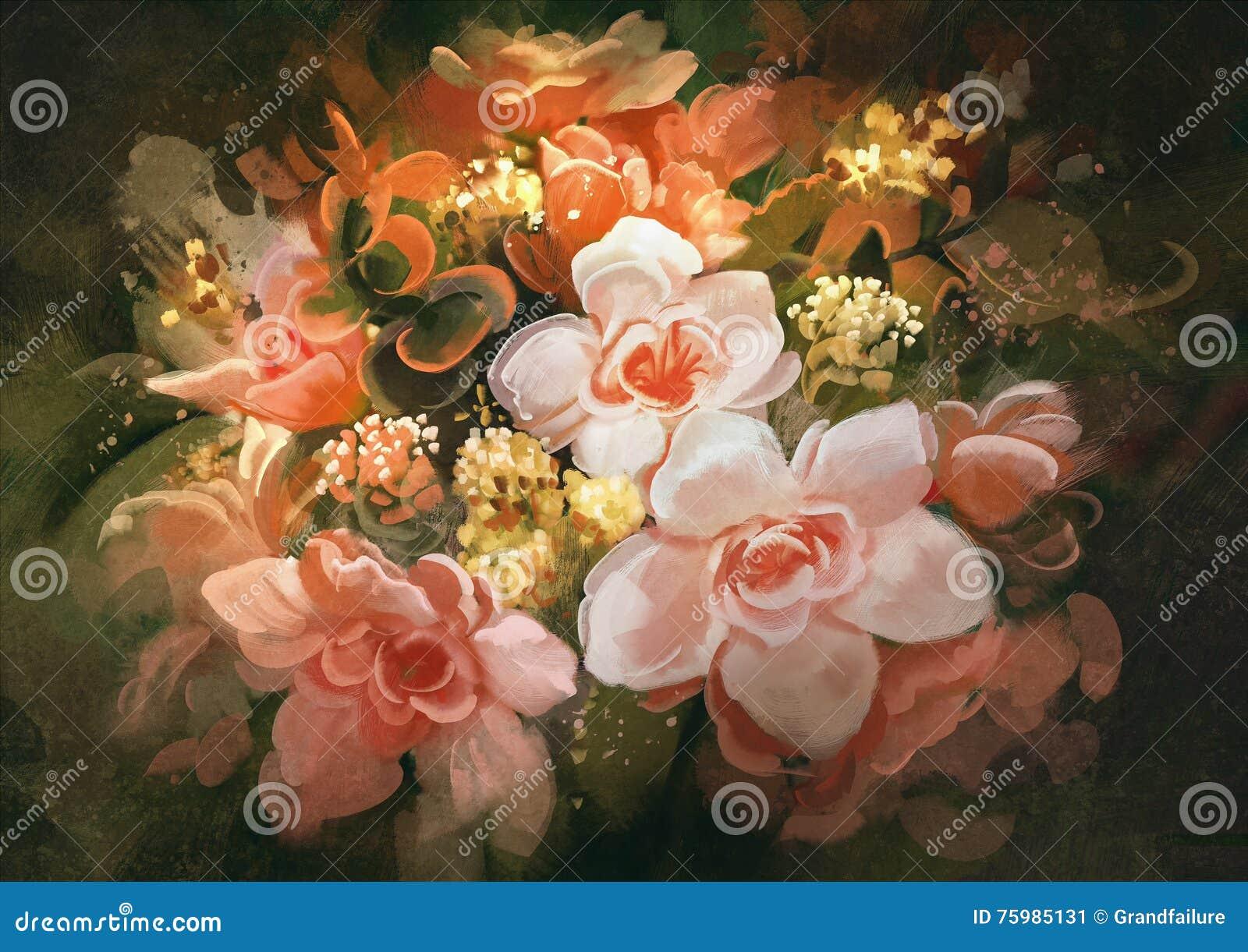 Beautiful Flowerscolor Bloomingpainting Stock Illustration