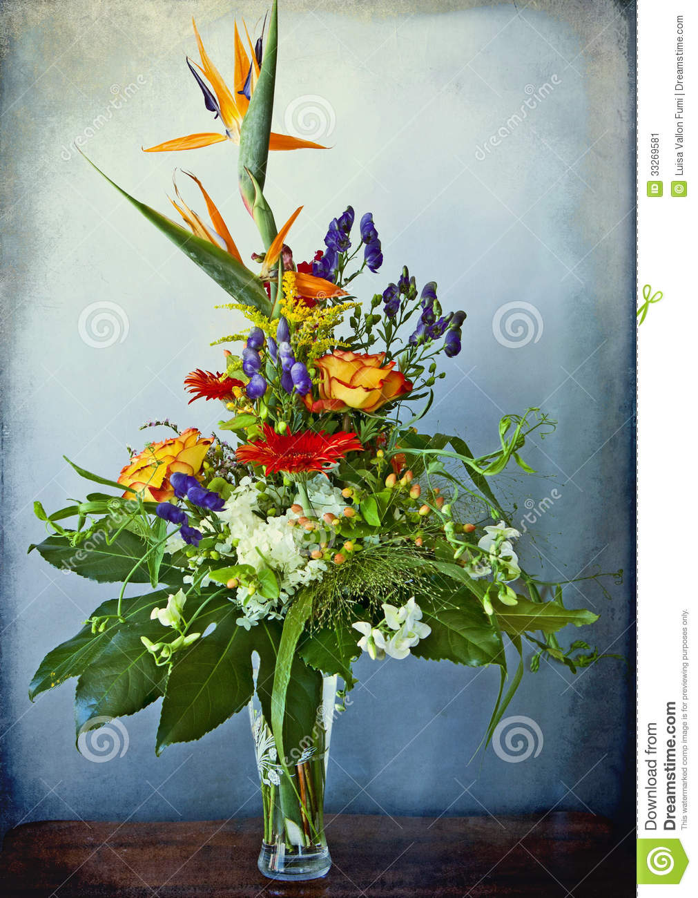 Beautiful Flowers Composition With Bird Of Paradise Flowers On A
