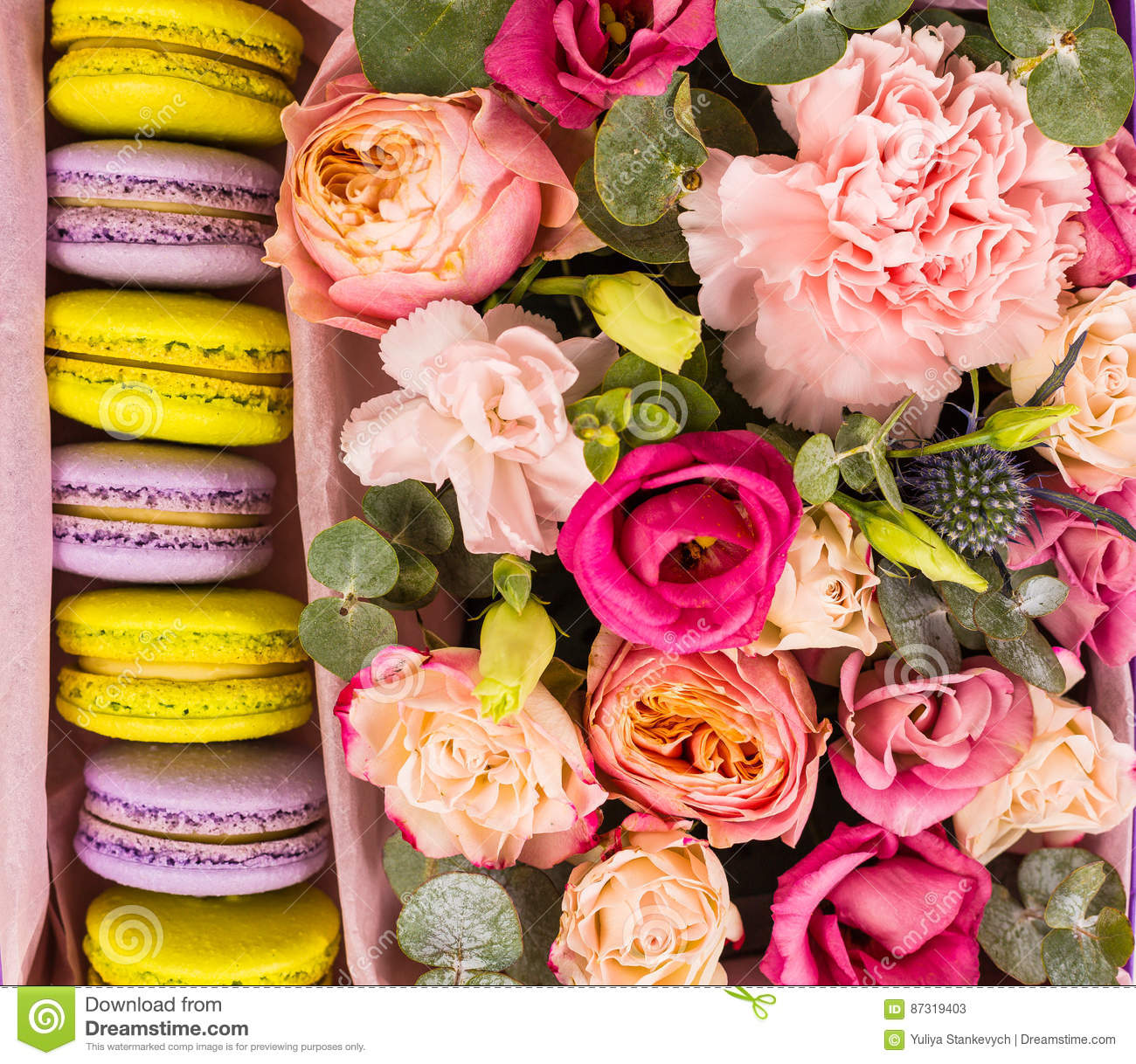 Beautiful Flowers And A Gift Box Stock Image Image Of Food Lovely