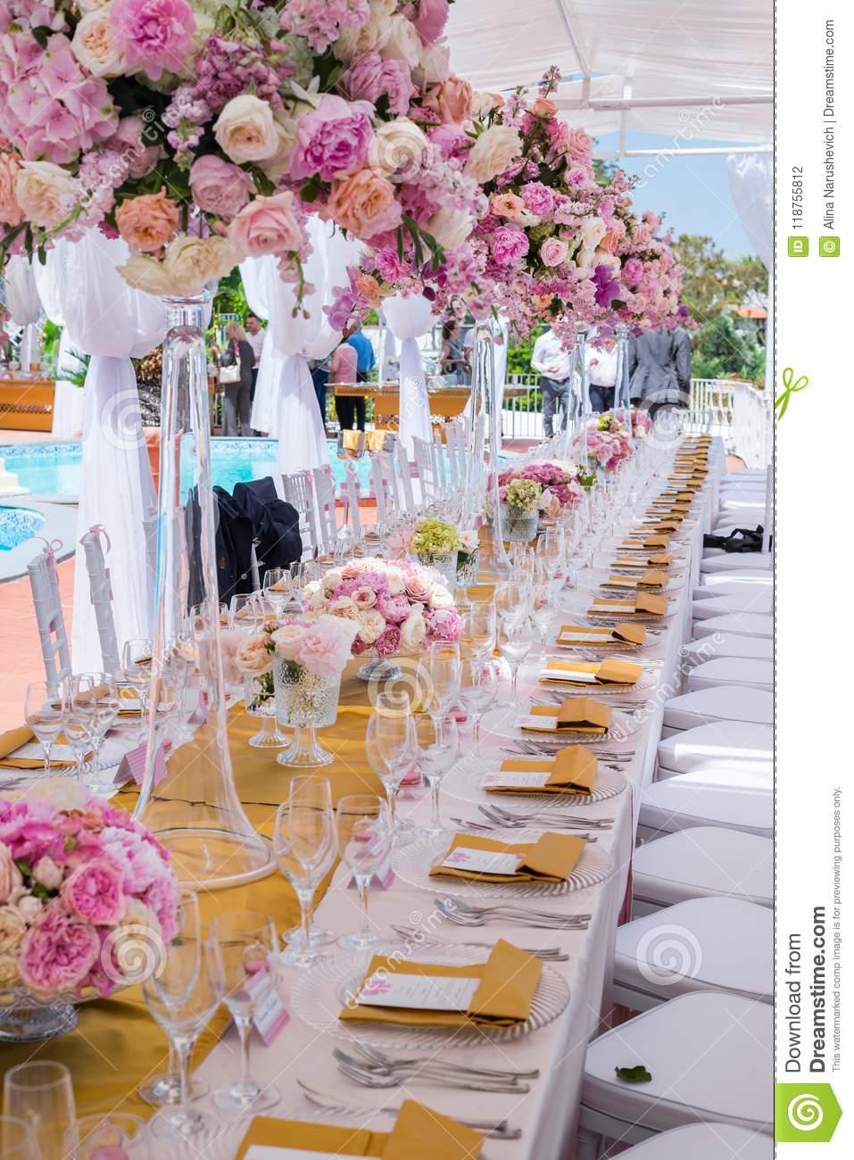Beautiful Flowers And Glasses In Roll Romantic Wedding Table