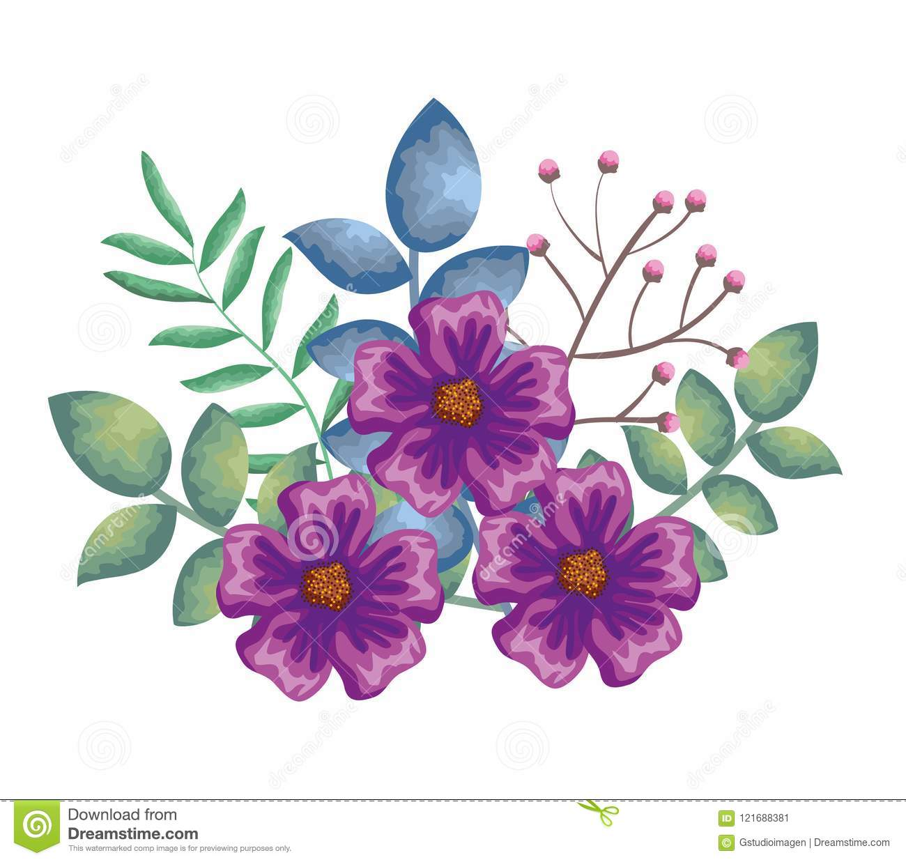 Beautiful flowers and leafs decoration stock vector illustration download beautiful flowers and leafs decoration stock vector illustration of clipart florist 121688381 izmirmasajfo