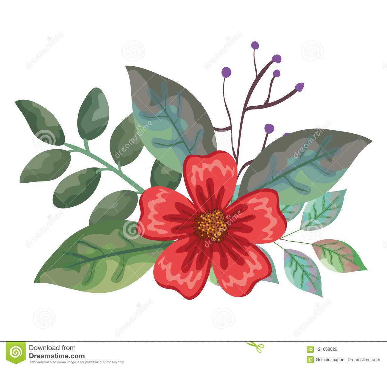Beautiful flowers and leafs decoration stock vector illustration beautiful flowers and leafs decoration izmirmasajfo