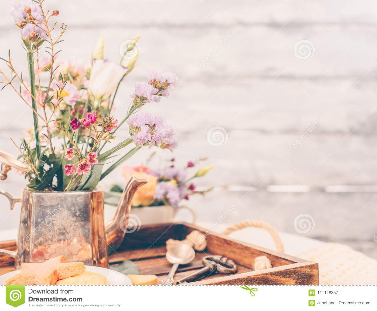 Beautiful Flowers In Old Vintage Tea Pot On Beautiful Wooden Tray Stock Image Image Of Pretty Food 111148357
