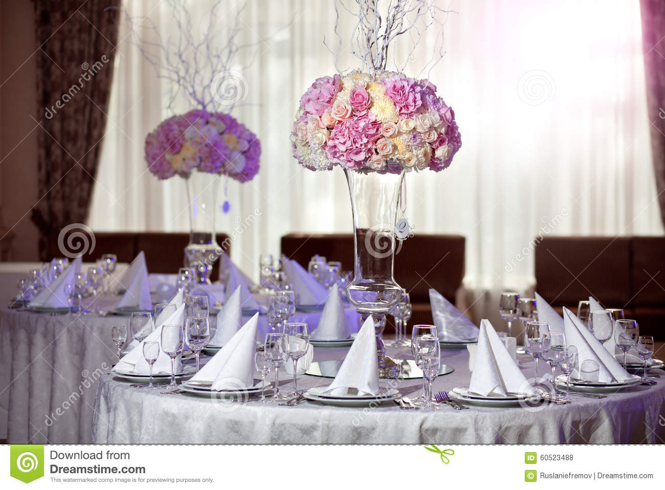 Beautiful Flowers On Table In Wedding Day Luxury Holiday Background