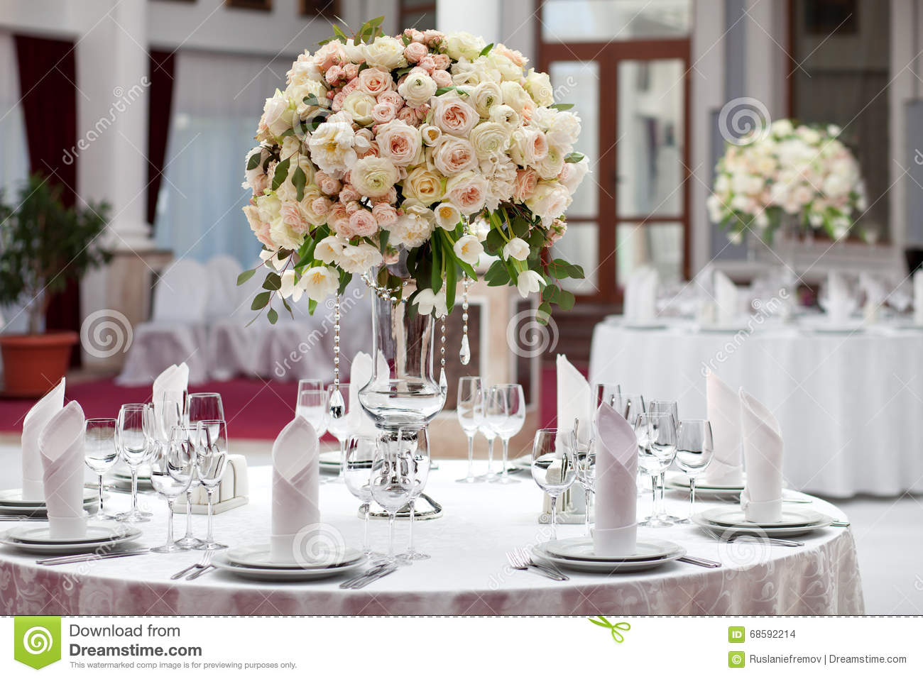 Beautiful Flowers On Table In Wedding Day Luxury Holiday