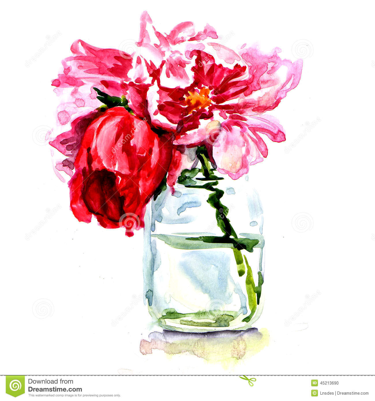 Beautiful flowers in vase isolated stock illustration illustration beautiful flowers in vase isolated izmirmasajfo Image collections