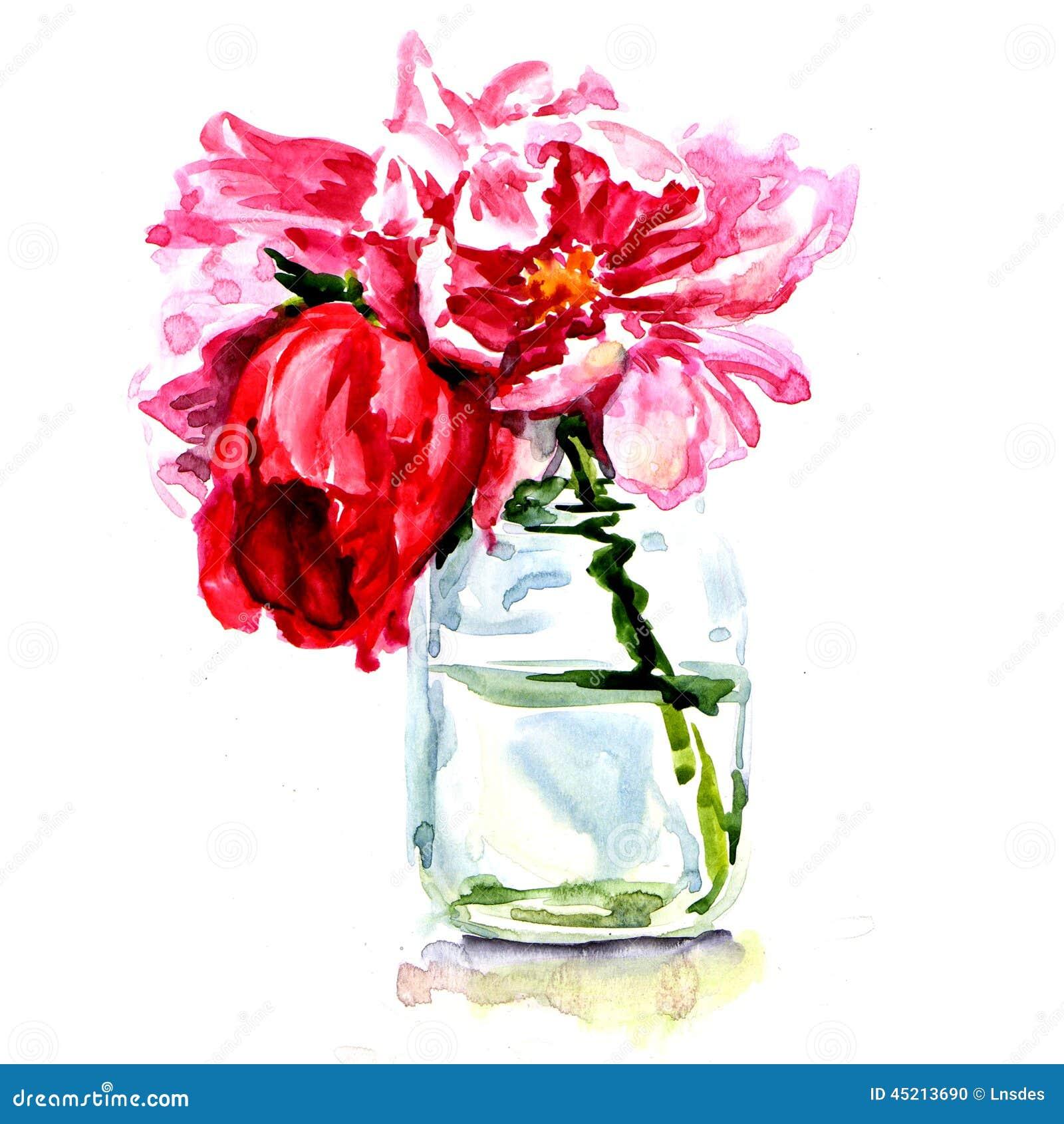 Beautiful Flowers In Vase Isolated Stock Illustration Illustration