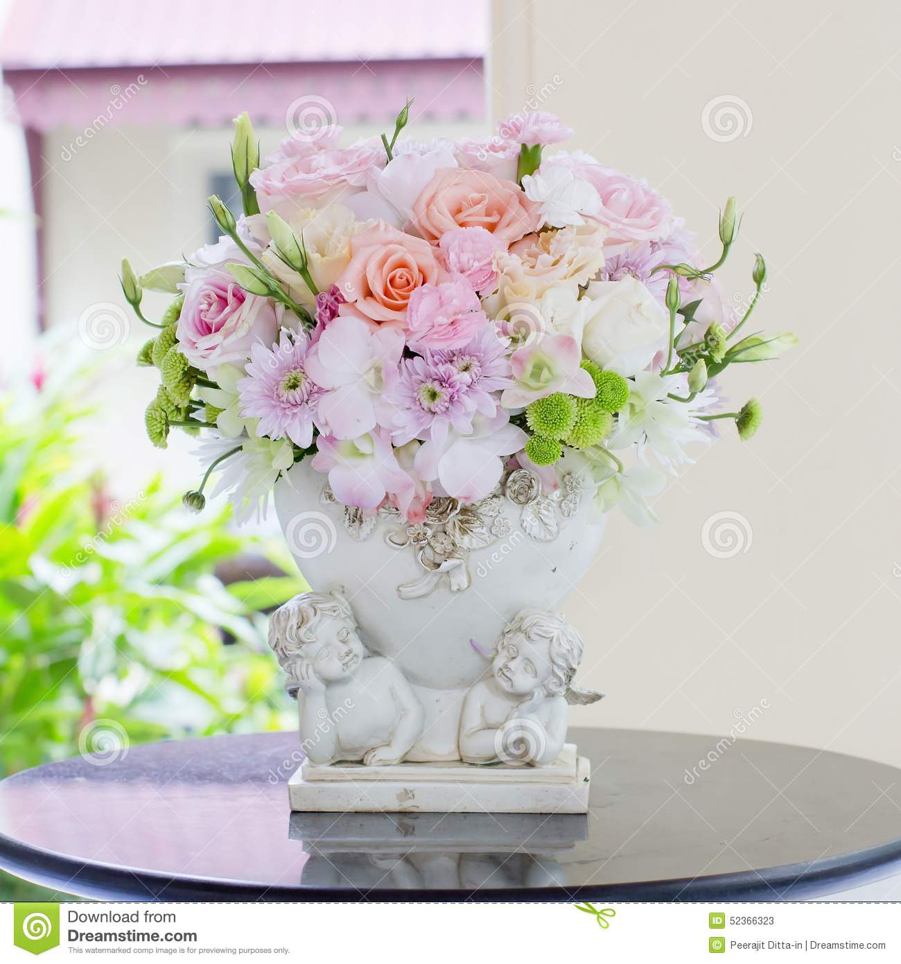 Beautiful Flowers In Vases Stock Image Image Of Background 52366323