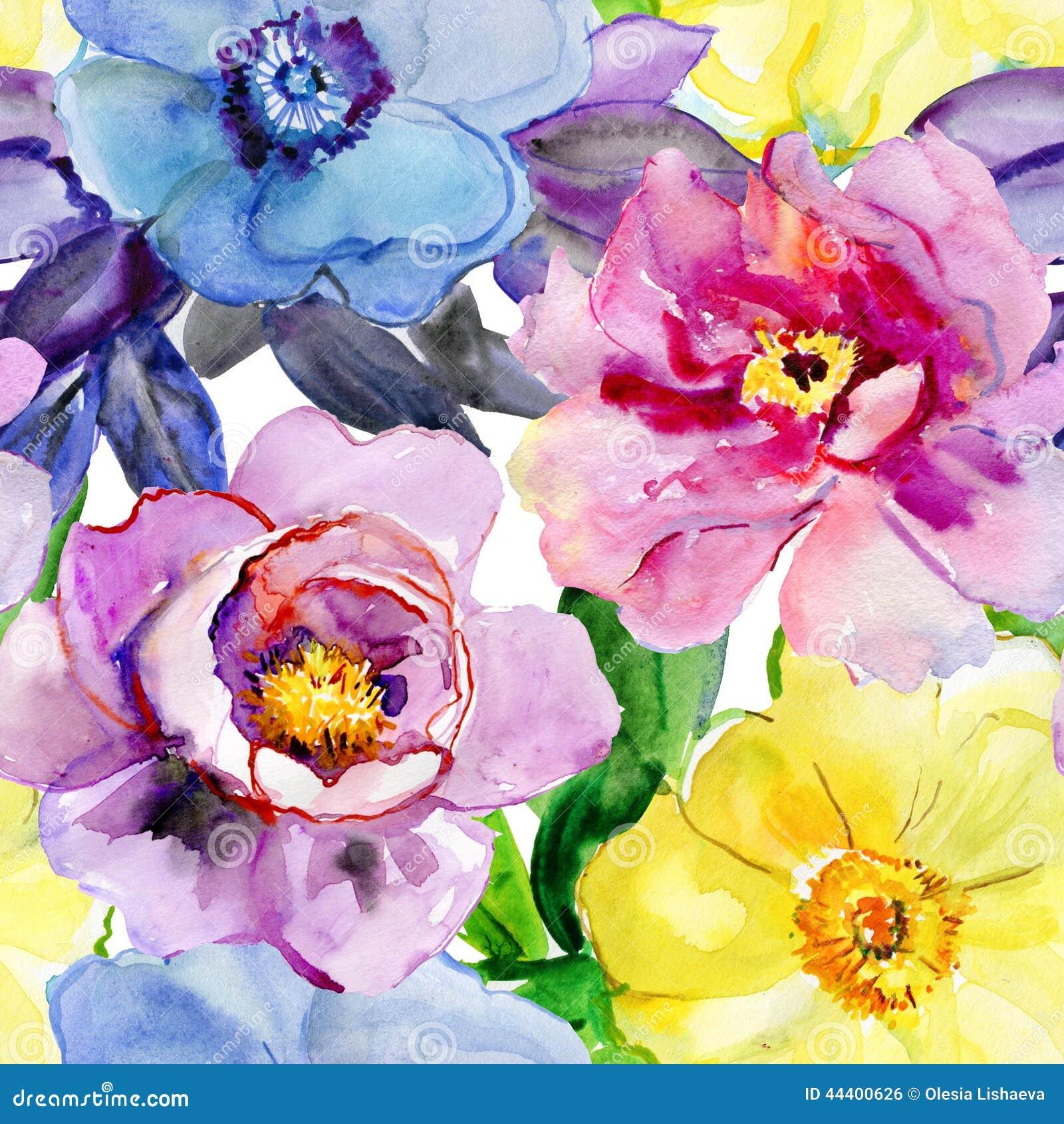 Beautiful flowers, watercolor illustration.