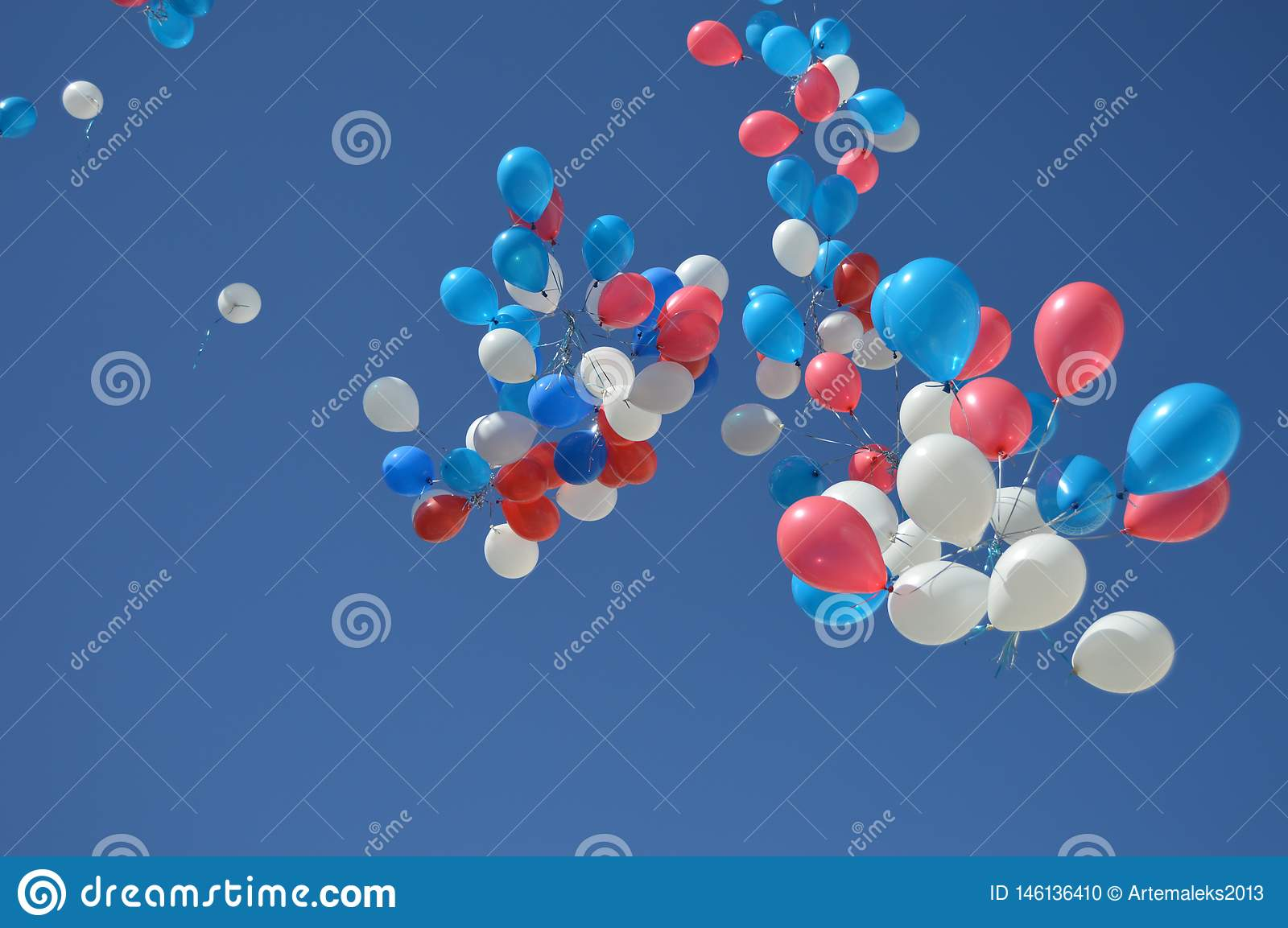 Beautiful flying balloons over the blue sky