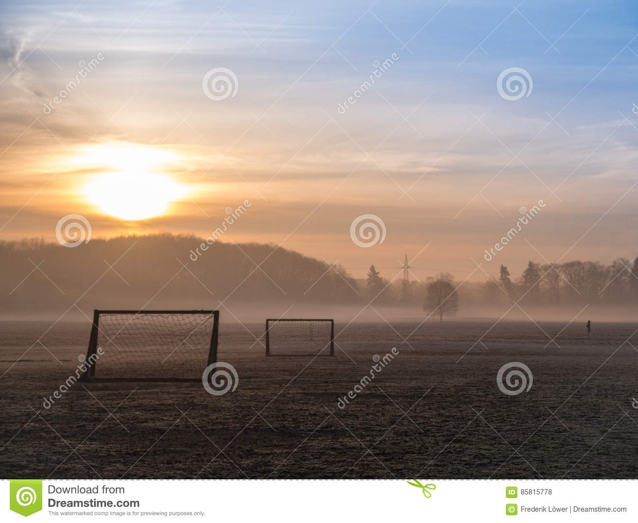 Beautiful Foggy Soccer Pitch Stock Photo Image Of Soccer