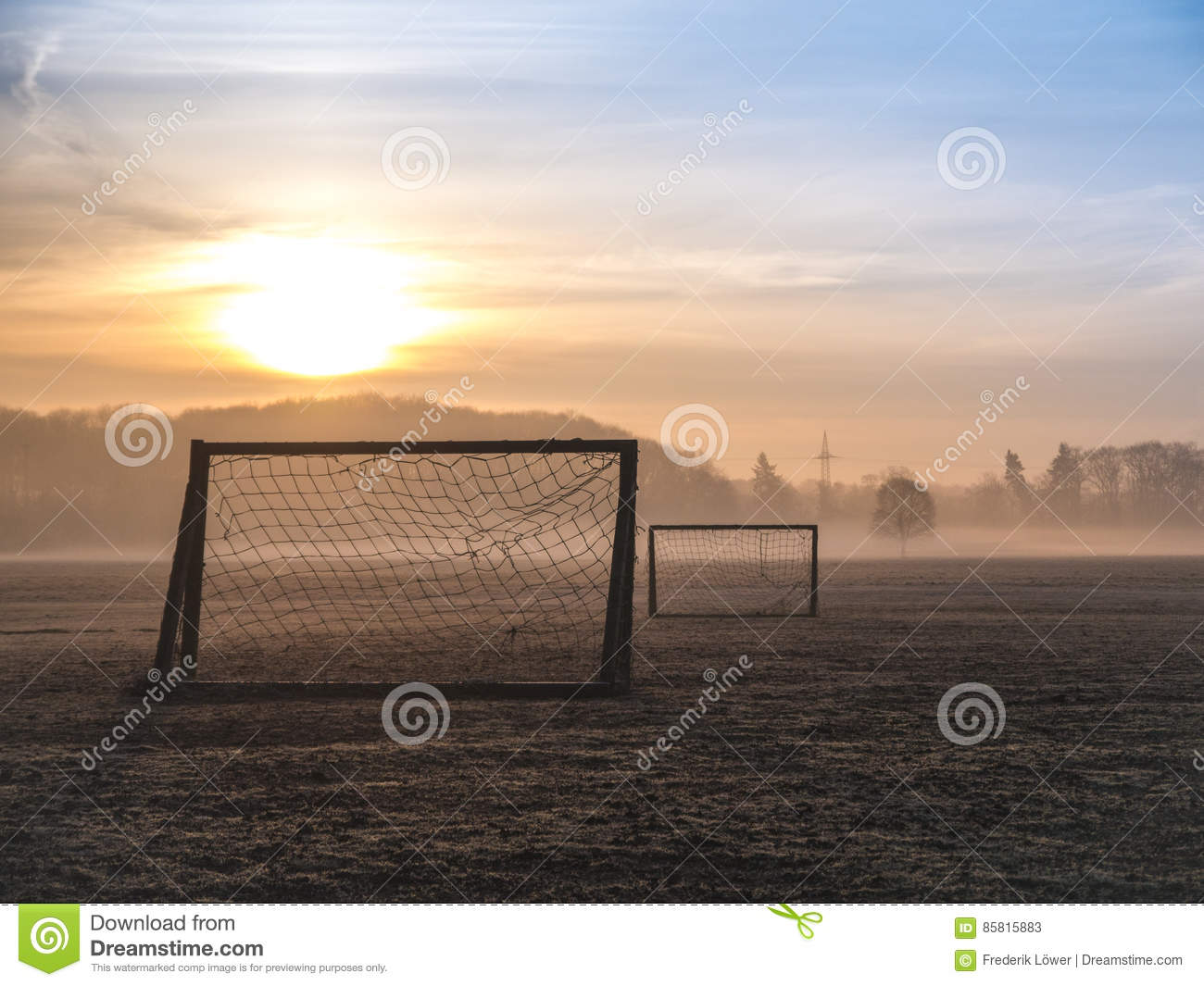 Beautiful Foggy Soccer Pitch Stock Image Image Of Soccer