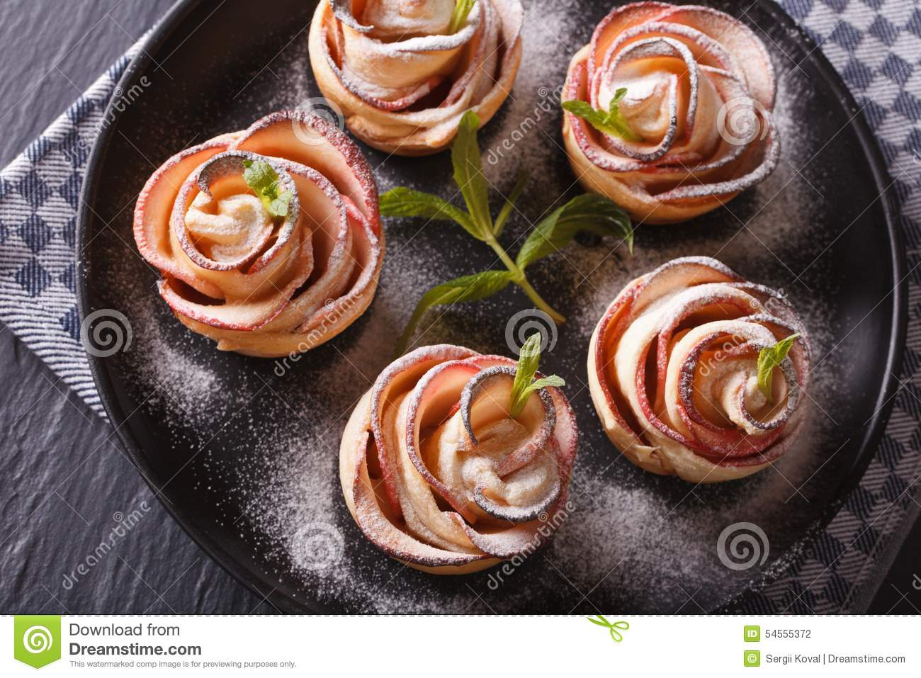 Download Beautiful Food: Rose Out Of An Apple Horizontal Top View Stock Photo - Image of cake, autumn: 54555372