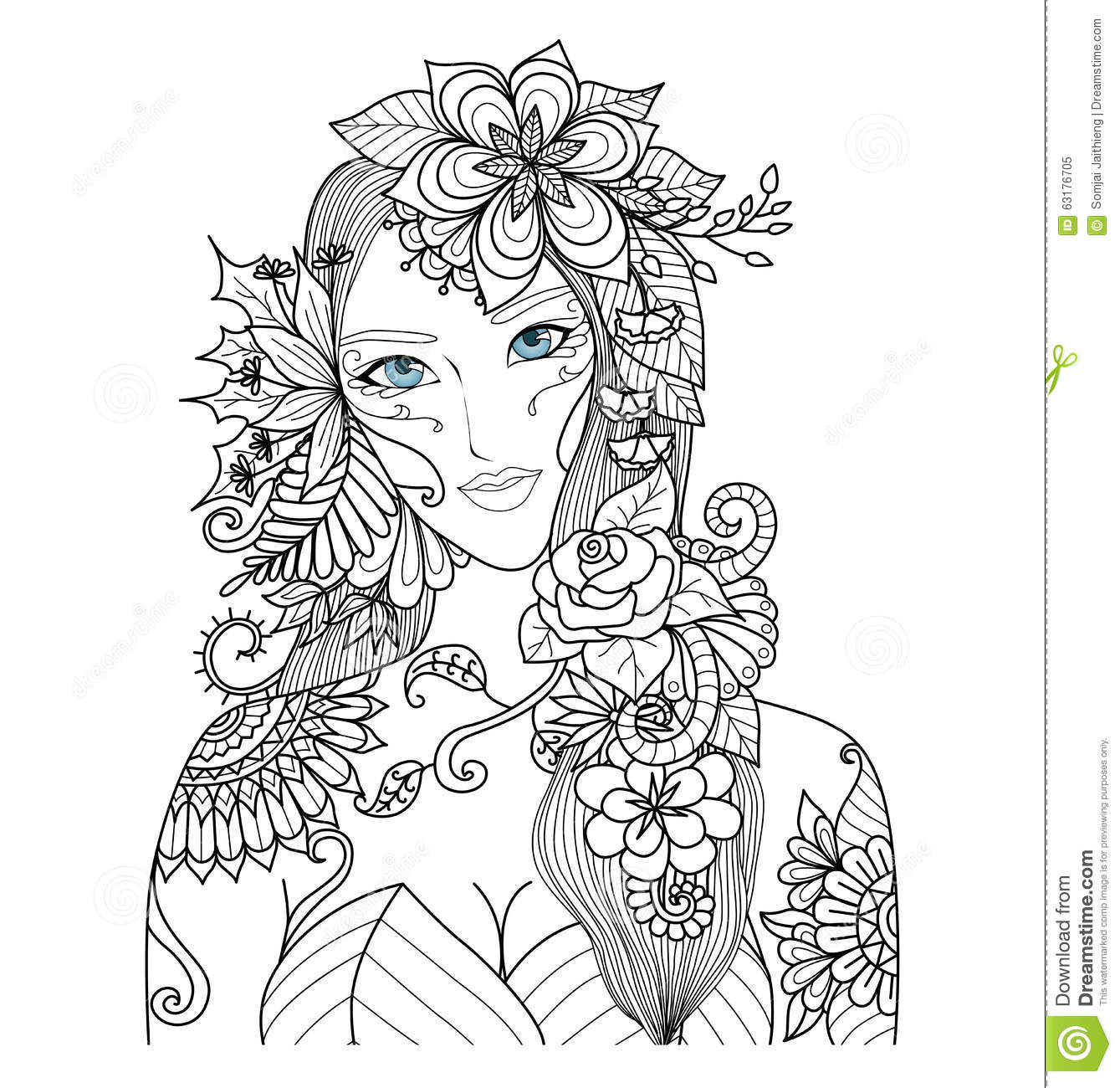 beautiful forest fairy for coloring book for stock vector