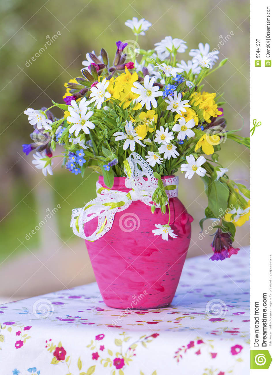 Beautiful forest flowers in pink vase with ribbon close up stock download beautiful forest flowers in pink vase with ribbon close up stock image image izmirmasajfo