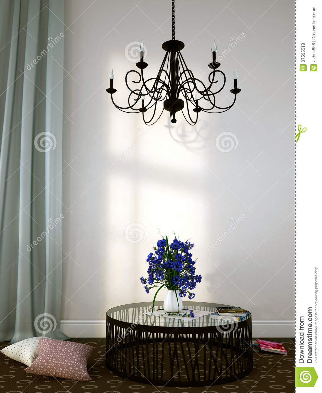 Beautiful Forged Chandelier Over The Coffee Table Royalty
