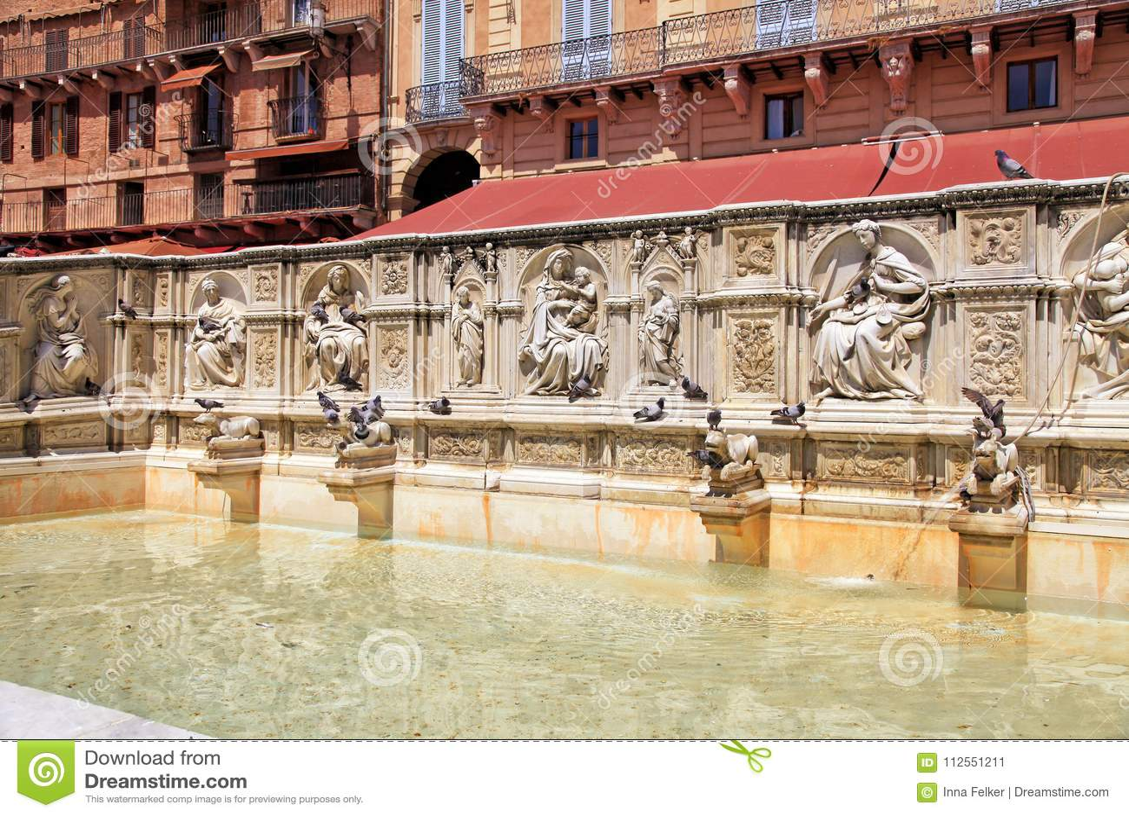 Beautiful Fountain of Joy on central square Piazza del Campo, Si