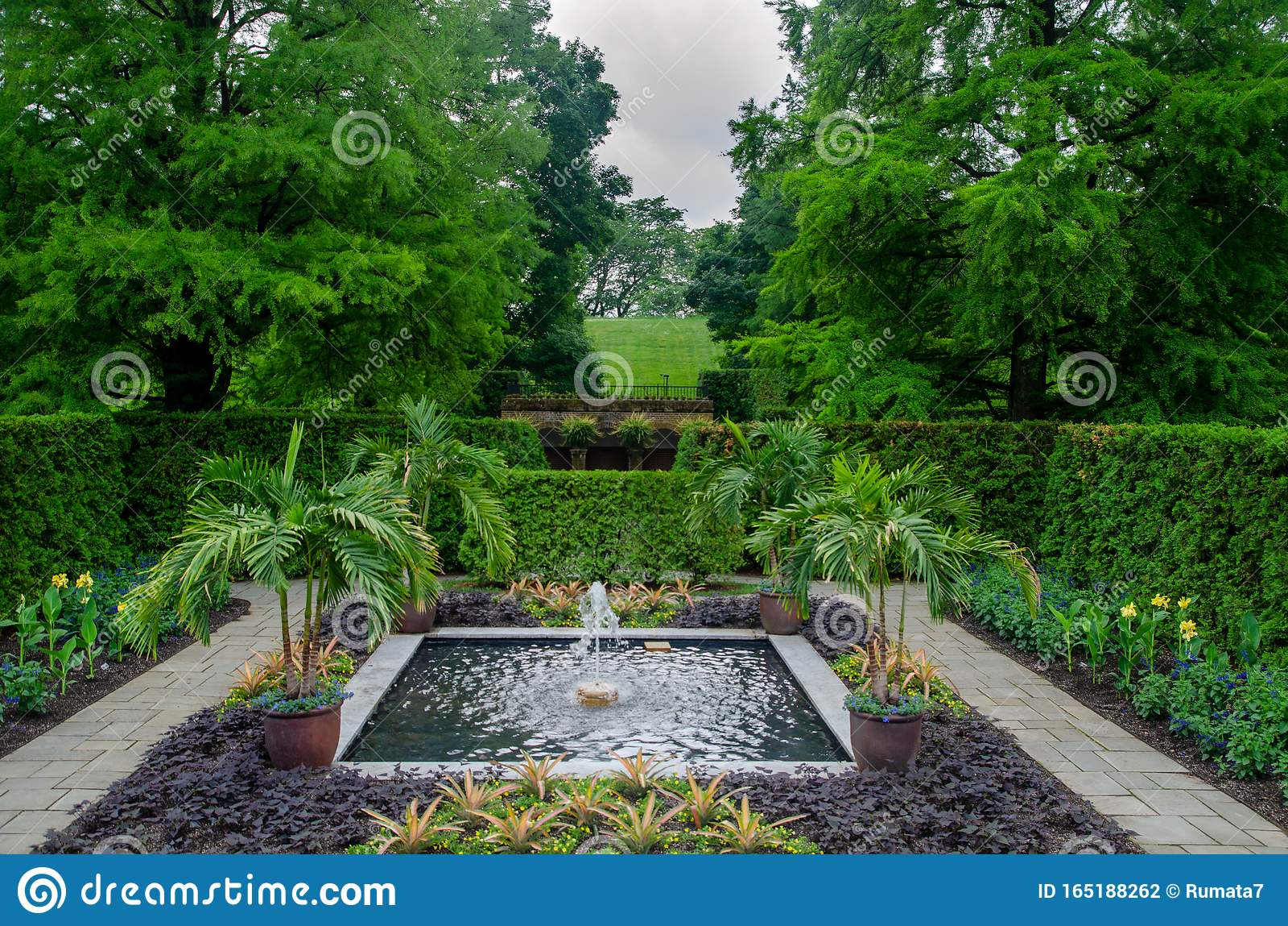 Beautiful Fountain At Longwood Gardens Pennsylvania Stock Photo