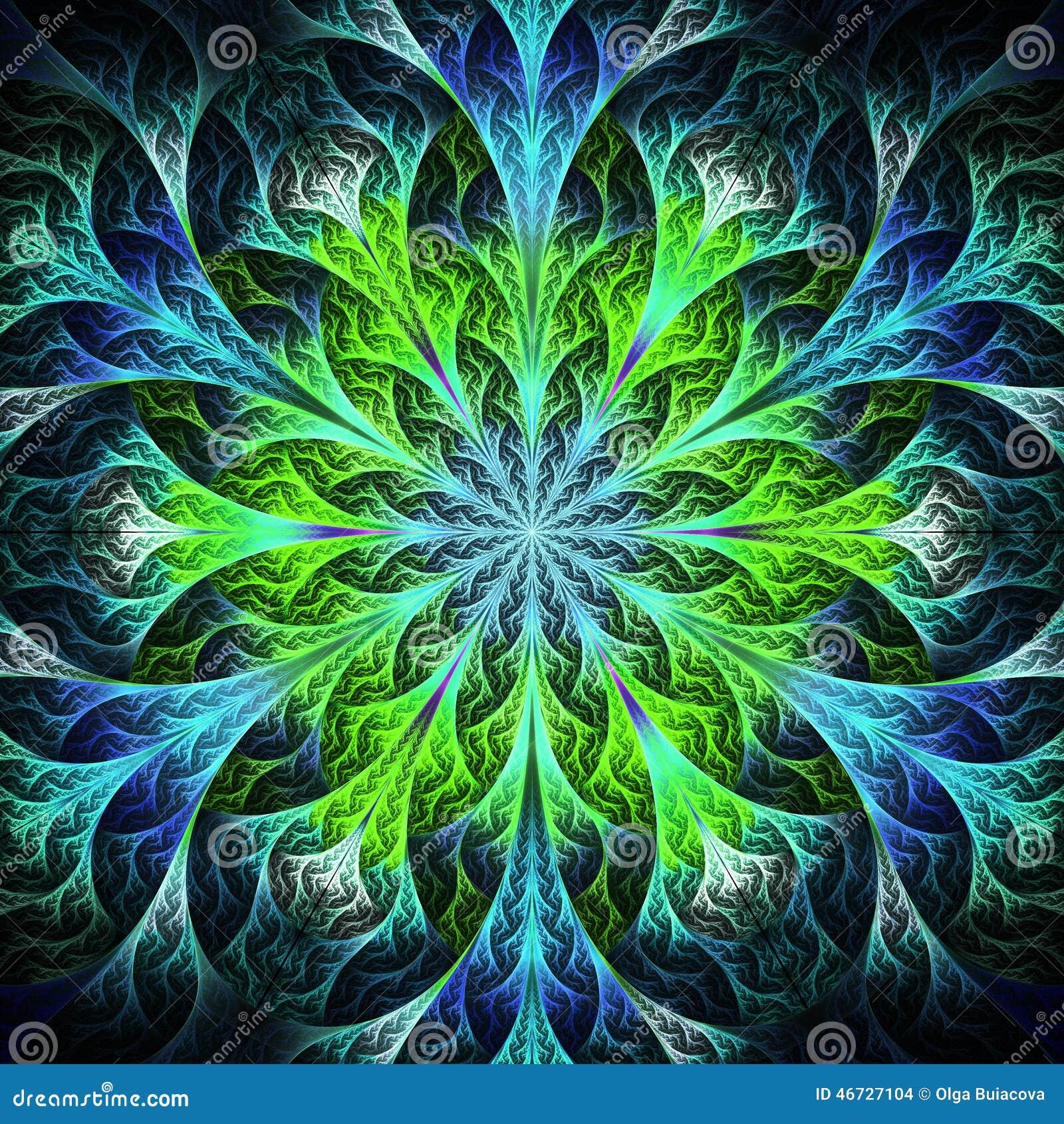 Fractal Black Flower Free Stock Photo: Beautiful Fractal Flower In Black, Blue And Green