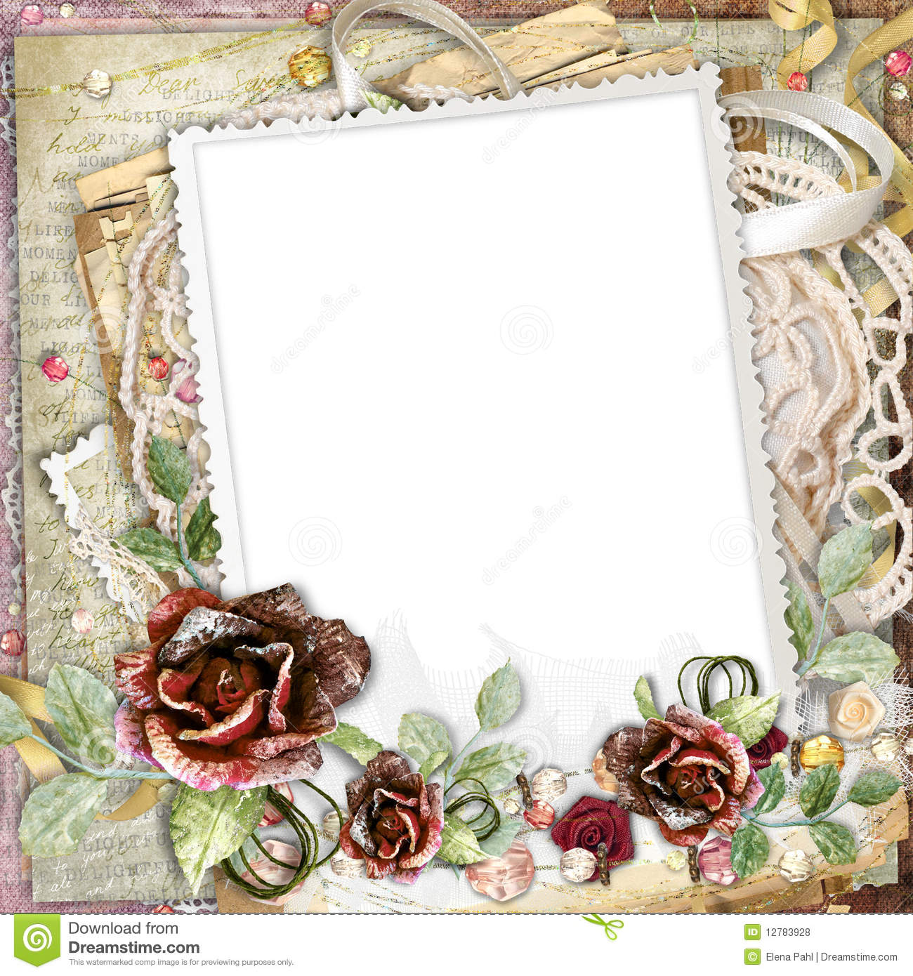 Beauty In Frame: Beautiful Frame With Flowers Royalty Free Stock Photos
