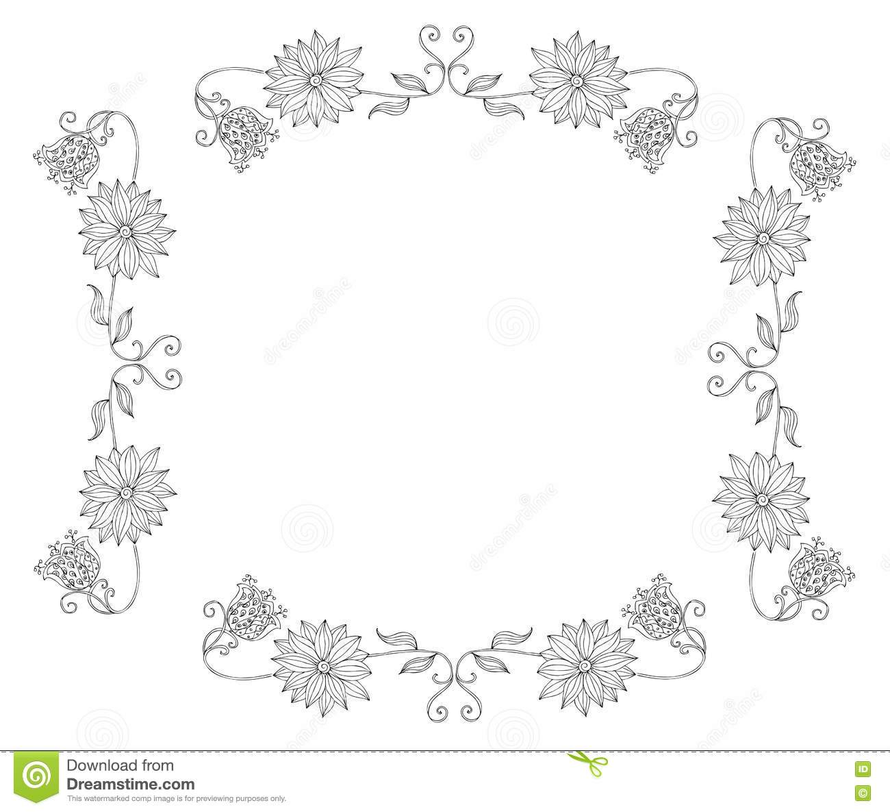 Beautiful Frame With Flowers. Stock Vector - Illustration of hand ...