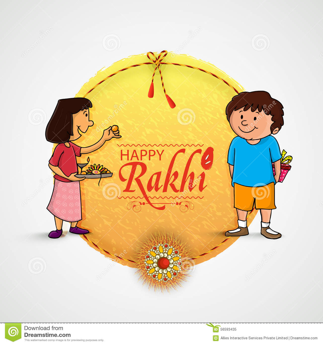Beautiful Frame For Happy Rakhi Celebration. Stock Illustration ...