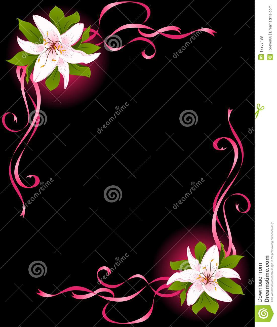 Beauty In Frame: Beautiful Frame With Lily Royalty Free Stock Photos