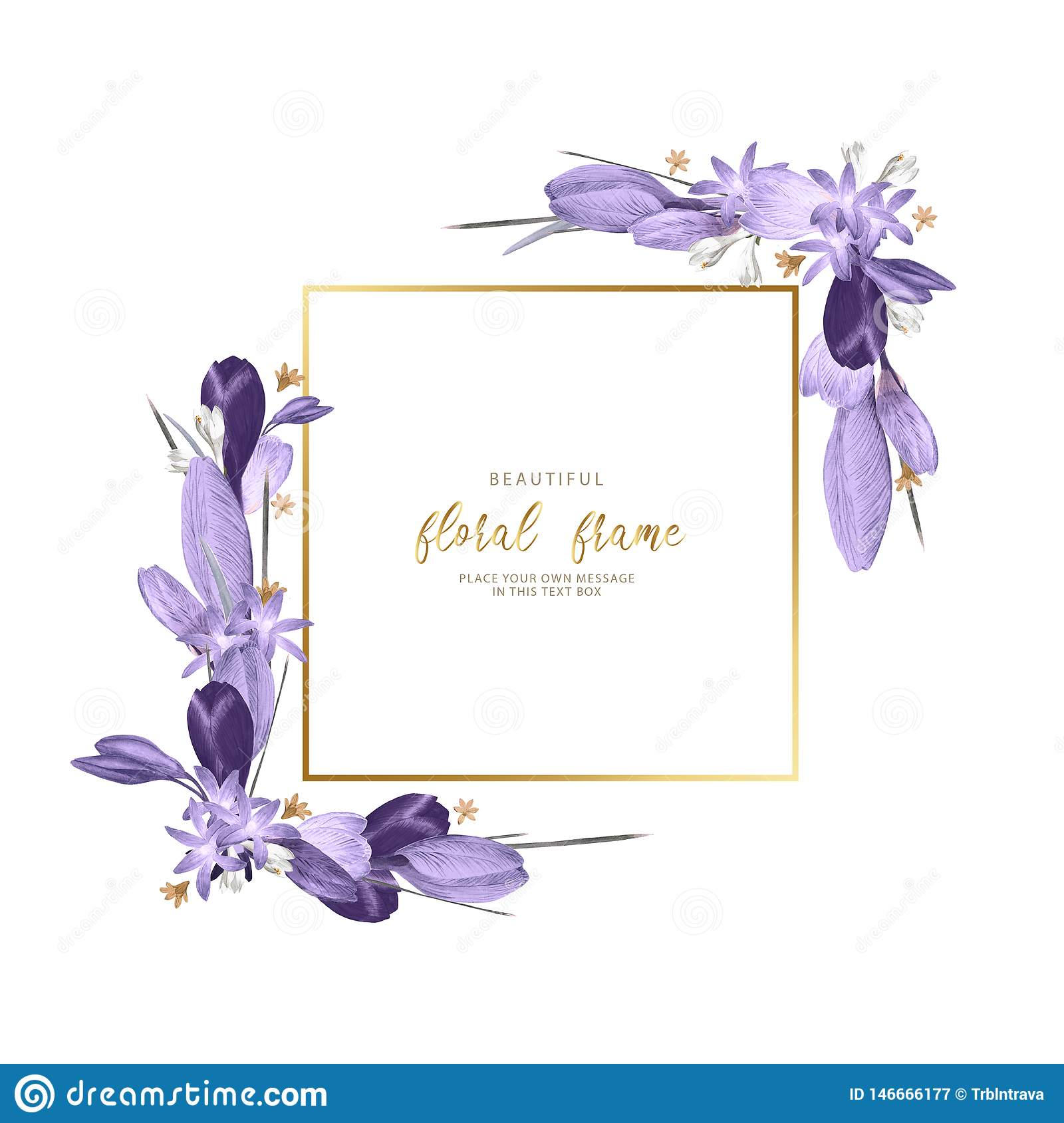 Beautiful Frame Of Spring Hand Draw Purple Flowers For Wedding