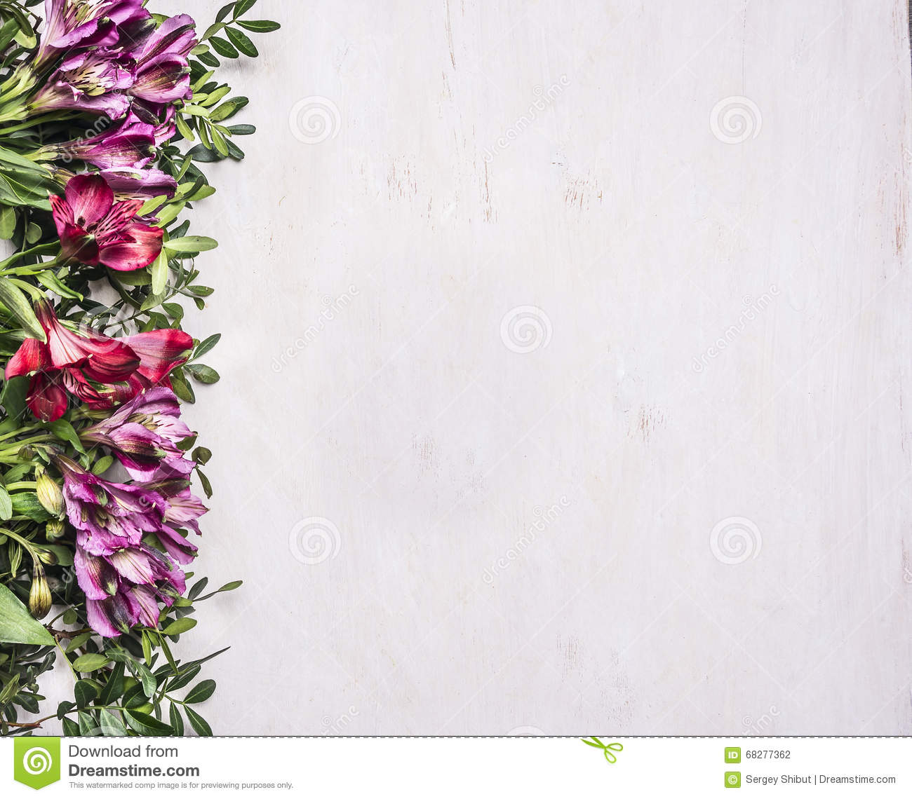 Beautiful Freesya Multicolored Flowers With Green Leaves Border Place For Text Wooden Rustic Background Top