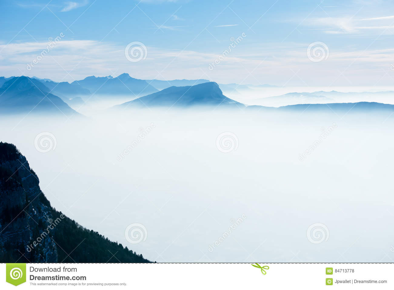 Download Beautiful French Alps Winter Panoramic Aerial View Landscape With A Fantastic Blue Haze Cloudy Mountain Background Stock Photo - Image of hiking, landscape: 84713778